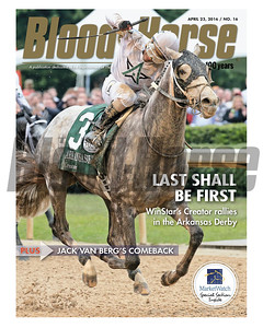 April 23, 2016 Issue 16 cover of Blood-Horse featuring Creator winning the Arkansas Derby at Oaklawn Park.