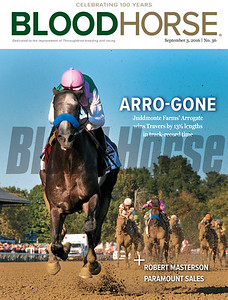September 3, 2016 issue 36 cover of BloodHorse featuring Arrogate wins Travers in track-record time and Robert Masterson Paramount Sales.