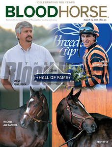August 13, 2016 Issue 33 cover of BloodHorse featuring 2016 Hall of Fame.