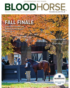 November 26, 2016 issue 48 cover of BloodHorse featuring Fall Finale as Keeneland November sale figures keep with market trends for '16, Skychai Racing, Ashford Stud.