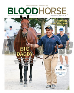 September 24, 2016 issue 39 cover of BloodHorse featuring Tepin's win in the Woodbine Mile, Scat Daddy's $3 million dollar horse at the Keeneland September Sale, and MarketWatch special section.