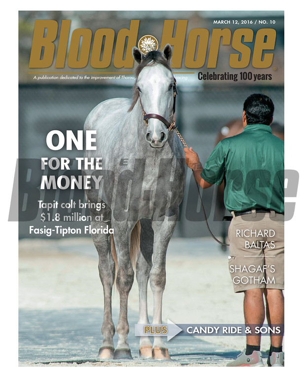 March 12, 2016 Issue 10 cover of Blood-Horse featuring Hip 131 at the 2016 Fasig-Tipton March Sale in Florida.