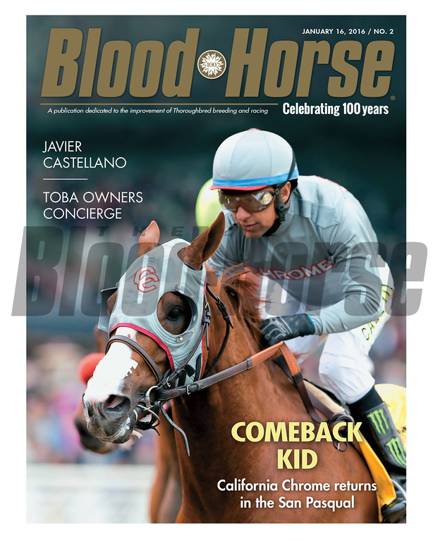 January 16, 2016 Issue 2 cover of Blood-Horse featuring California Chrome winning the San Pasqual Stakes at Santa Anita Park.