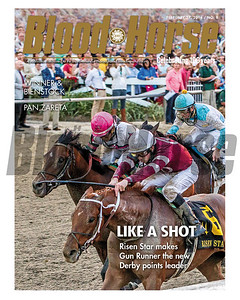 February 27, 2016 Issue 8 Cover of Blood-Horse featuring Gun Runner winning the Risen Star Stakes at Fair Grounds.