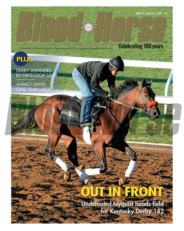 May 7, 2016 Issue 18 cover of Blood-Horse featuring Nyquist and the Kentucky Derby (gr. I) preview.