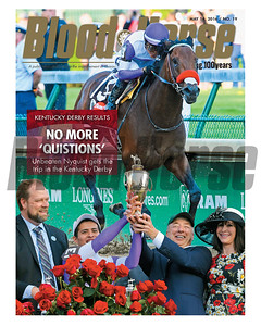 May 14, 2016 Issue 19 cover of Blood-Horse featuring Nyquist and his Kentucky Derby (gr. I) win. Paul Reddam, Doug O'Neill, Mario Gutierrez