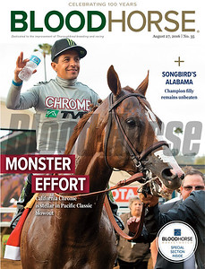 August 27, 2016 Issue 35 cover of BloodHorse featuring California Chrome's win in Pacific Classic and Songbird's win in Alabama Stakes.