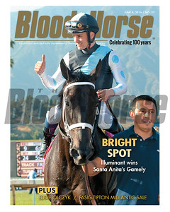 June 4, 2016 Issue 22 cover of Blood-Horse featuring Illuminant winning Santa Anita's Gamely Stakes. Plus Eddie Olczyk and the Fasig-Tipton Midlantic Sale