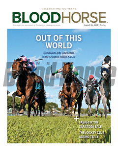 August 20, 2016 Issue 34 cover of BloodHorse featuring Mondialiste winning the Arlington Million, Fasig-Tipton Saratoga Sale and Jockey Club Round Table.