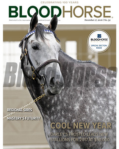 December 17, 2016 issue 52 cover of BloodHorse featuring Cool New Year as Darley's Frosted leads new stallions for 2017 at $50,000, Regional Sires, Mastery's Futurity, BloodHorse Marketwatch Special Section inside.