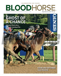 September 10, 2016 issue 37 cover of BloodHorse featuring Shaman Ghost winning a dramatic running of the Woodward Stakes. Plus the Keeneland September Sale preview.