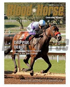 February 20, 2016 Issue 7 cover of Blood-Horse featuring Nyquist winning the San Vincente at Santa Anita Park.