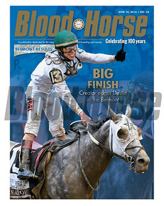 June 18, 2016 Issue 24 cover of Blood-Horse featuring Creator edging out Destin in the Belmont Stakes