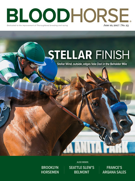 June 10, 2017 issue 23 cover of BloodHorse featuring Stellar Finish as Stellar Winds, outside, edges Vale Dori in the Beholder Mile.  Also inside: Brooklyn Horsemen, Seattle Slew's Belmont, France's Arqana Sales.