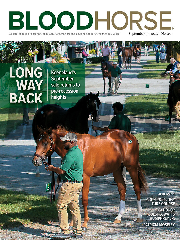 September 30, 2017 Issue 40 Cover of BloodHorse featuring Long Way Back Keeneland's September sale returns to pre-recession heights, also inside: Aqueduct's New Turf Course, TCA Honor Guest G. Watts Humphrey Jr., Patricia Moseley.