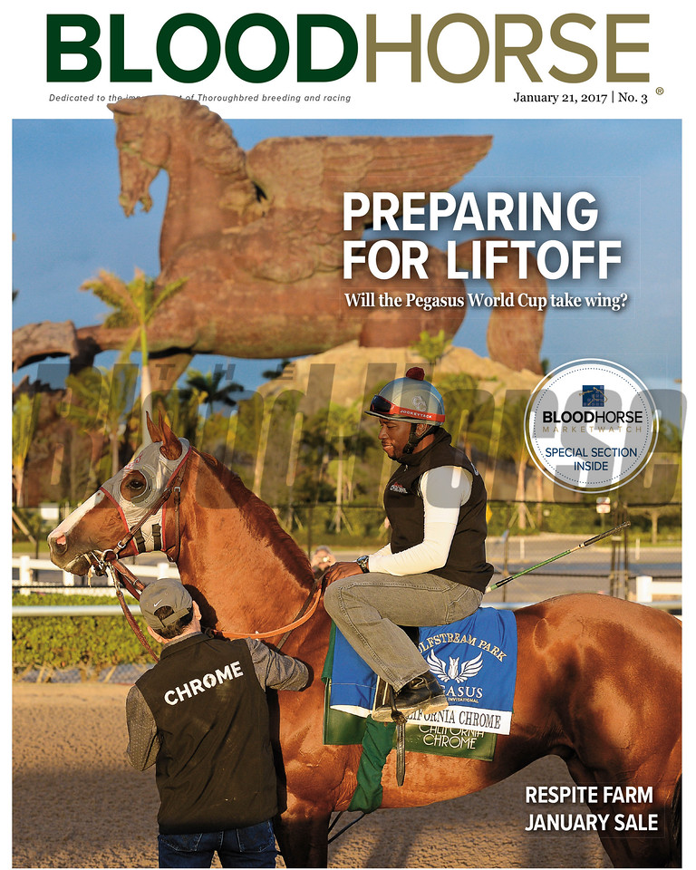 January 21, 2017 issue 3 cover of BloodHorse featuring Preparing for Liftoff as will the Pegasus World Cup take wing? Respite Farm January Sale and Marketwatch special section.