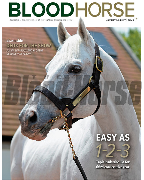 January 14, 2017 issue 2 cover of BloodHorse featuring Easy as 1-2-3: Tapit leads sire list for third consecutive year, also inside Deux for the Show as Julien Leparoux and Florent Geroux take flight.