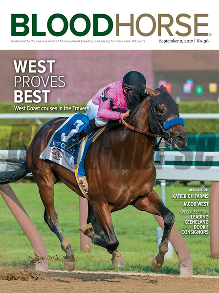 September 2, 2017 issue 36 cover of BloodHorse featuring West Proves Best as West Coast cruises in the Travers, KatieRich Farms, Jacob West, Leading Keeneland Book 1 Consignors.