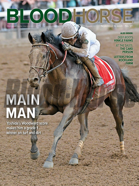 September 8, 2018 issue 37 cover of BloodHorse featuring Main Man as Yoshida's Woodward score makes him a grade 1 winner on turf and dirt, Deep Roots Hinkle Farms, At the Sales: The Card Person, Letters From Rockland Farm.