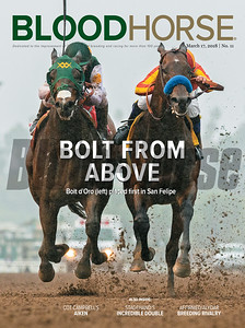 March 17, 2018 issue 11 cover of BloodHorse featuring Bolt From Above as Bolt d'Oro (left) placed first in San Felipe, Cot Campbell's Aiken, Stagehand's Incredible Double, Affirmed/Alydar breeding rivalry
