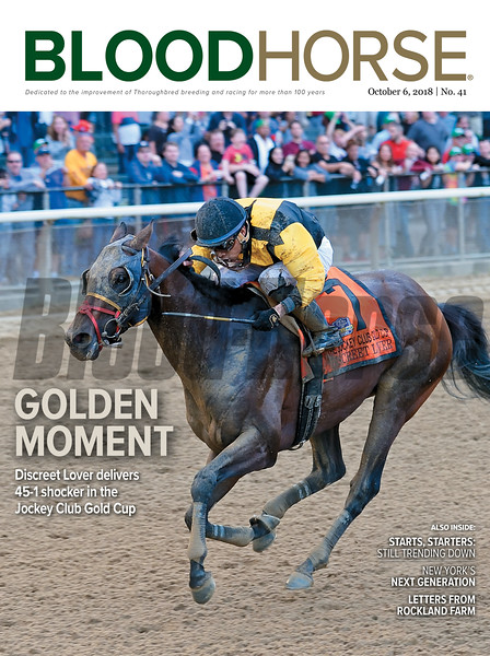 October 6, 2018 issue 41 cover of BloodHorse featuring Golden Moment as Discreet Lover delivers 45-1 shocker in the Jockey Club Gold Cup, Starts, Starters: Still Trending Down, New York's Next Generation, Letters from Rockland Farm.