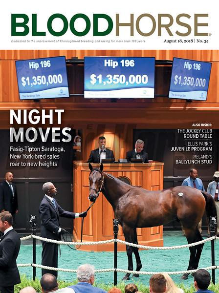 August 18, 2018 issue 34 cover of BloodHorse featuring Night Moves as Fasig-Tipton Saratoga, New York-bred sales roar to new heights, The Jockey Club Round Table, Ellis Park's Juvenile Program, Ireland's Ballylinch Stud