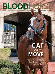 January 27, 2018 issue 4 cover of BloodHorse featuring Cat on the Move as Kitten's Joy transitions from Ramsey Farm to Hill 'n' Dale, Juddmonte Farms, Sports Betting: What's Next?, 2018 First Derby Dozen.