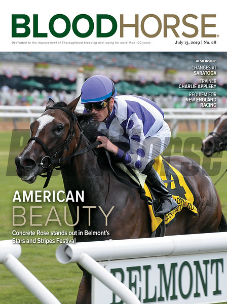 July 13; 2019; issue 28; cover of Blood Horse; American Beauty: Concrete Rose stands out in Belmont's Stars and Stripes Festival; Also Inside: Changes at Saratoga, Tainer Appleby, Requiem for New England Racing; On the cover: Concrete Rose and Julien Leparoux capture the Belmont Oaks Invitational Stakes (G1T) at Belmont Park on July 6, 2019
