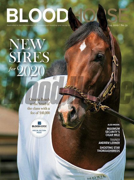 December 14; 2019; issue 50; cover of Blood Horse; New Sires for 2020: Omaha Beach at the head of the class with a fee of $40,000 Also Inside: Maximum Security's Cigar Mile, Trainer Andrew Lerner, Shooting Star Thoroughbreds; On the cover: Omaha Beach at WinStar Farm in Versailles, KY, on May 8, 2019.