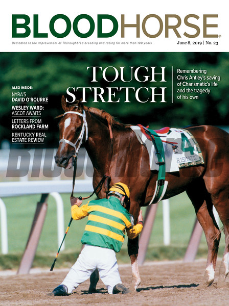 June 8; 2019; issue 23; cover of Blood Horse; Tough Stretch: Remembering Chris Antley's saving of Charismatic's life and the tragedy of his own, Also inside: NYRA's David O'Rourke, Wesley Ward: Ascot Awaits, Letters from Rockland Farm, Kentucky Real Estate Review, On the cover: Charismatic is injured during the 1999 Belmont Stakes at Belmont Park, Chris Antley