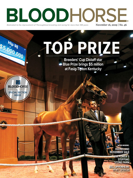 November 16; 2019; issue 46; cover of Blood Horse; Top Prize: Breeders' Cup Distaff star Blue Prize brings $5 million at Fasig-Tipton Kentucky; Also Inside: Keeneland November Sale, Jim Power's Stepping Stone Farm, Bill Oppenheim: In My Opinion; On the cover: Hip 98 Blue Prize in the sales ring going for $5 million at the Fasig-Tipton November Sale 2019.