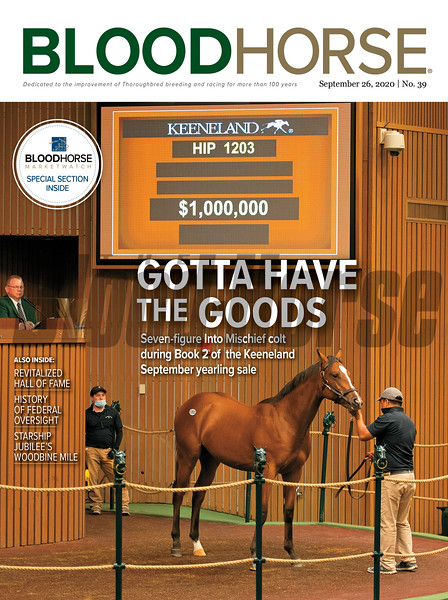 September 26; 2020; issue 39; cover of Blood Horse; Gotta have the Goods: Seven-figure Into Mischief colt during Book 2 at the Keeneland September yearling sale, Also Inside: Revitalized Hall of Fame, History of Federal Oversight, Starship Jubilee's Woodbine Mile, On the cover: Hip 1203 colt by Into Mischief out of Teen Pauline from Warrendale/Stonestreet at the Keeneland September sale yearlings in Lexington, Kentucky on September 16, 2020.