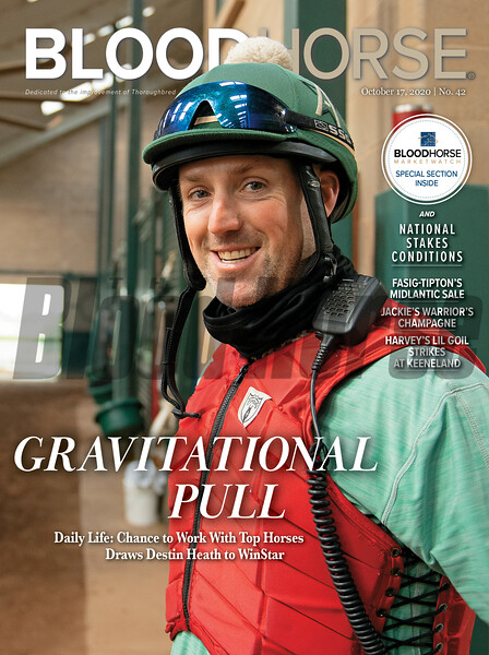 October 17; 2020; issue 42; cover of Blood Horse; Gravitational Pull: Daily Life: Chance to Work With Top Horses Draws Destin Heath to WinStar, Also Inside: Fasig-Tipton's Midlantic Sale, Jackie's Warrior's Champagne, Harvey's Lil Goil Strikes at Keeneland, On the cover: Destin Heath, trainer at WinStar farm, inbetween sets in the early morning at the WinStar Farm Training Center on August 11, 2020