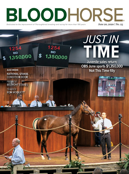 June 20; 2020; issue 25; cover of Blood Horse; Just in Time: Juvenile sales return; OBS June Sports $1,350,000 Not This Time Filly, Also Inside: National Stakes Condition Book, Preview: Belmont Stakes, Trainer: Ron Moquett, On the cover: Hip 1254 at the OBS 2 Year Old Spring Sale in Ocala, Florida, on June 10, 2020