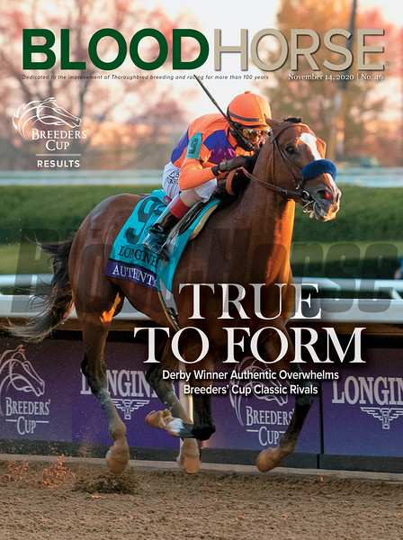 November 14; 2020; issue 46; cover of Blood Horse; True to Form: Derby Winner Authentic Overwhelms Breeders' Cup Classic Rivals, Also Inside: Breeders' Cup Results, On the cover: Authentic with John Velazquez wins the Breeders' Cup Classic (G1) at Keeneland in Lexington, Kentucky on November, 7, 2020.