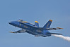 A Blue Angel Pilot makes a low pass over Lake Washington