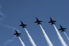 The Blue Angels silhouetted against clear skys over Lake Washington