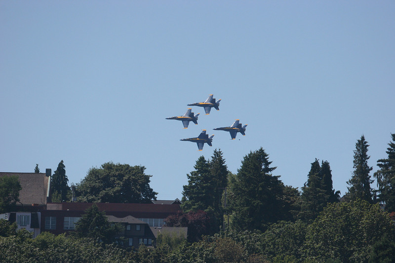 The Blue Angels make a low pass over homes on the Lake Washington shore.