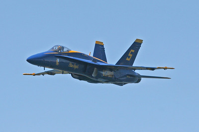 A Blue Angel Pilot makes a low high speed pass over spectators at Lake Washington