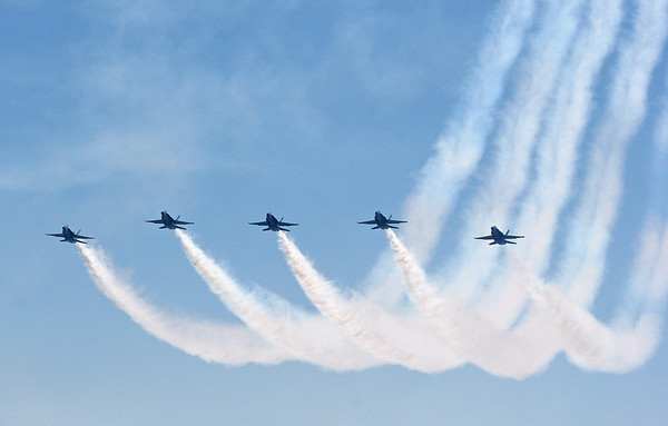 The Blue Angels make a final pass over Lake Washington.