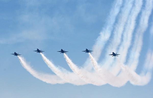 The Blue Angels make a final pass over Lake Washington.