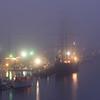 Tall Ship Caledonia in Foggy Dawn at the Charleston City Marina