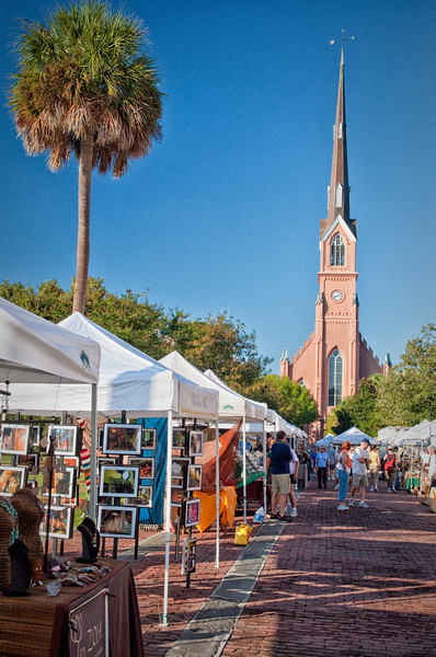 Saturday morning market in Marion Square with St. Matthew's Lutheran Church