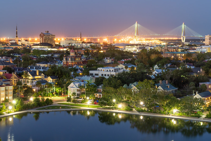 Evening View of the Charleston peninsula and Colonial Lake