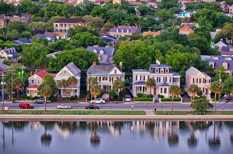 Colonial Lake and historic houses, Charleston, SC