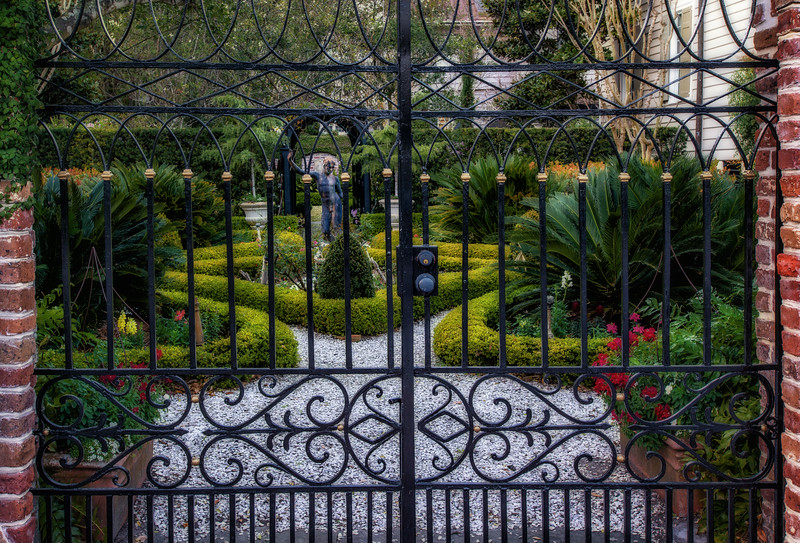 Wrought iron gate and garden, South Battery, Charleston, SC