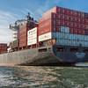 Container ship entering Charleston Harbor