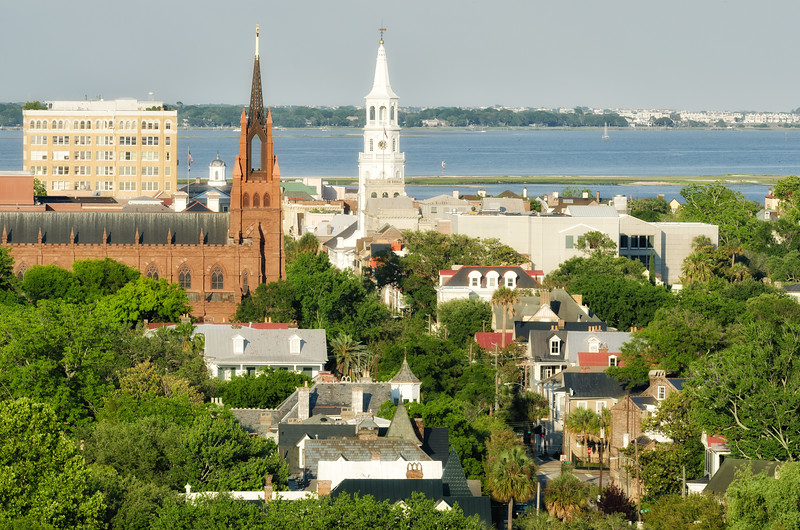 St. Michaels Church and Cathedral of St. John the Baptist on Broad Street, Charleston