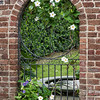 Brick and wrought iron window to private downtown garden, Lamboll Street
