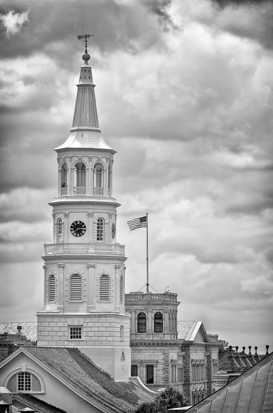 St. Michael's Church steeple with Charleston City Post Office in the background